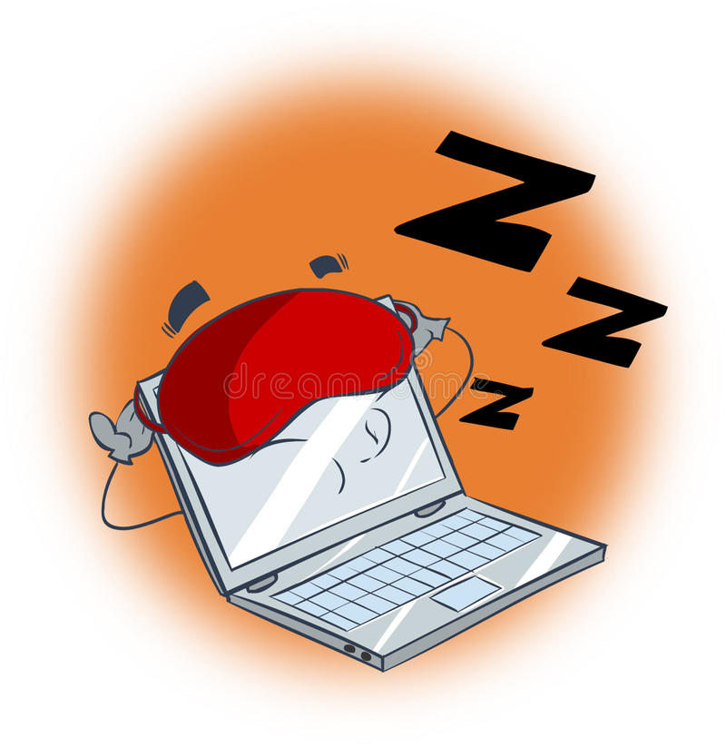 Sleeping computer. A vector image (sleeping computer royalty free illustration