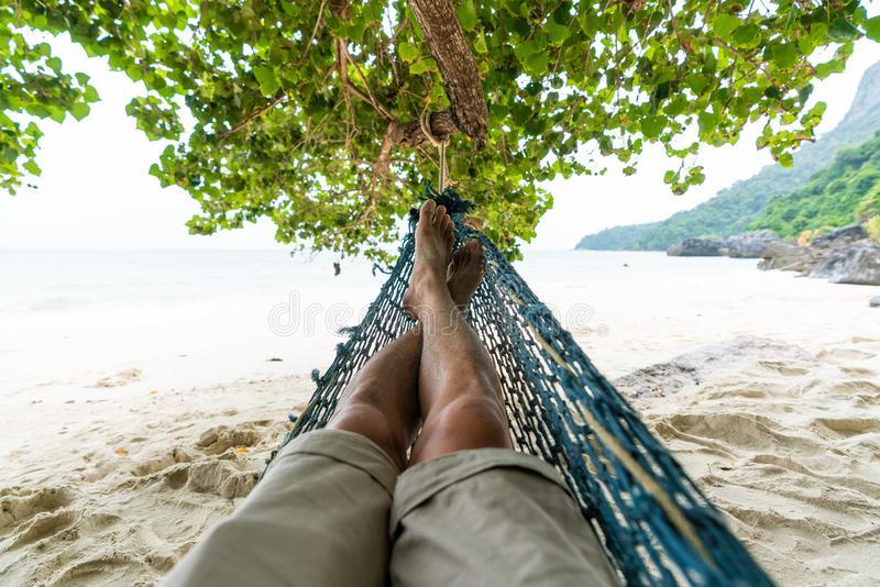Sleeping on cradle in beautiful beach stock images