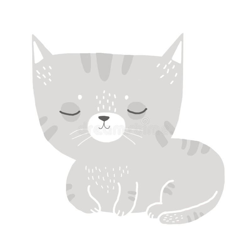 Cute gray kitten royalty free illustration