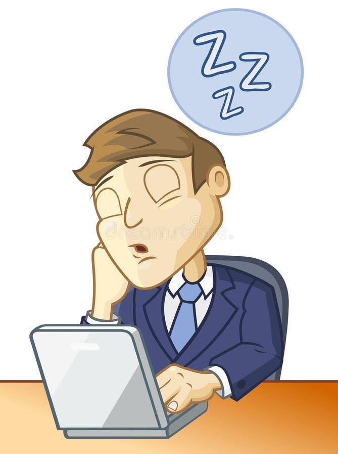 Sleeping at the desk vector illustration