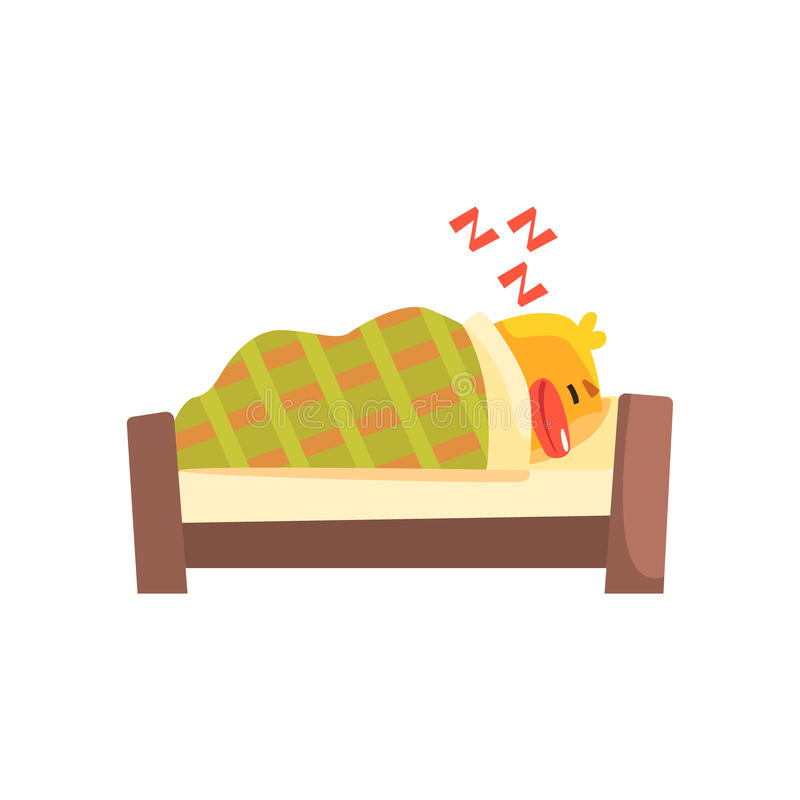 Sleeping Duckling Cute Character Sticker stock illustration