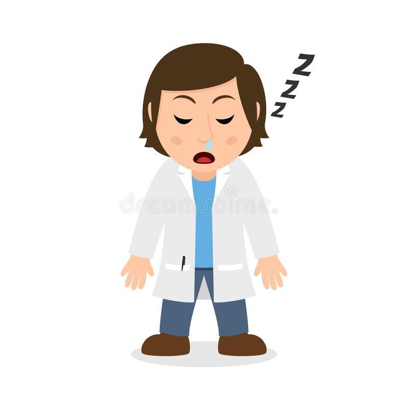 Sleeping Female Doctor Cartoon Character. Isolated on white background. Please check my portfolio for ten versions of the same character with different vector illustration