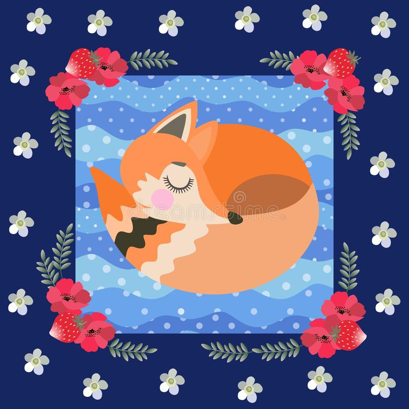 Sleeping fox on a blue polka dot background in a beautiful floral frame. Patchwork pattern for children. Great collection. Vector stock illustration