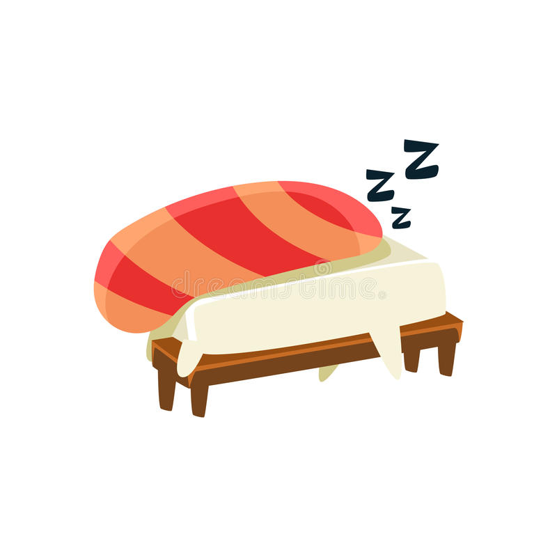 Sleeping Funny Maki Sushi Character. Silly Childish Drawing Isolated On White Background. Funny Creature Colorful Vector Sticker stock illustration