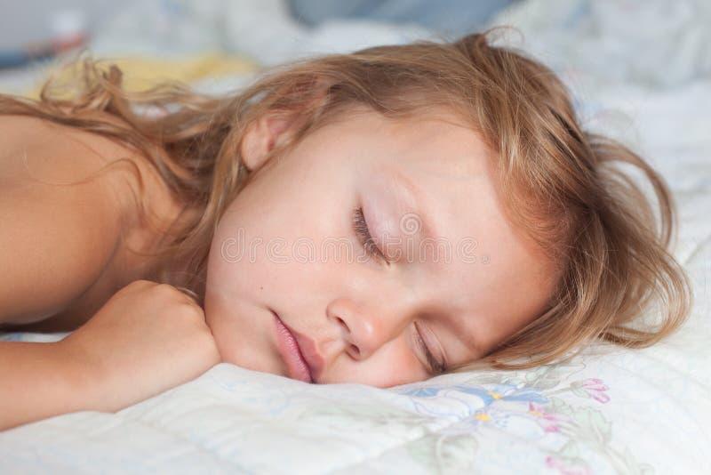 Sleeping girl. Sleeping sweet little girl portrait stock image