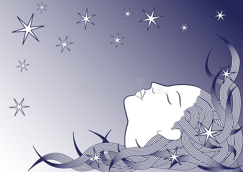Download Sleeping girl stock vector. Image of lips, dream, blue - 7740626