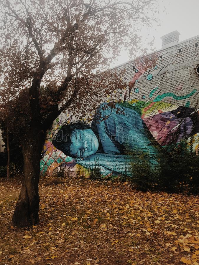 Sleeping girl graffiti royalty free stock photos
