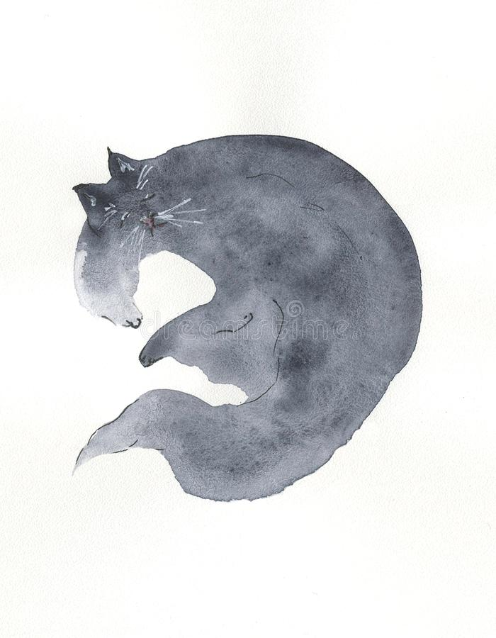 Sleeping grey cat painting in watercolor. Illustration royalty free illustration