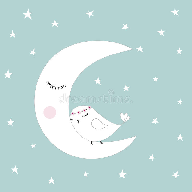 Sleeping half moon white cute bird blue night sky stars kids illustration room decoration, light pastel colors stock illustration