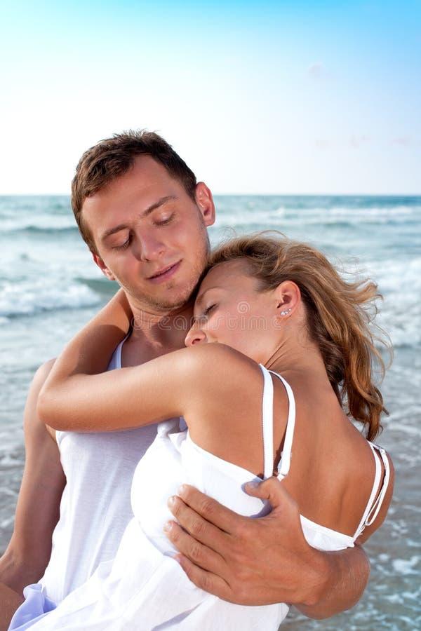 She Is  Sleeping  On Him Neck Stock Photo