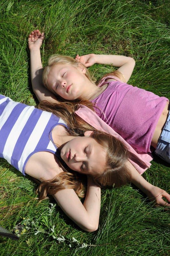 Sleeping kids royalty free stock image