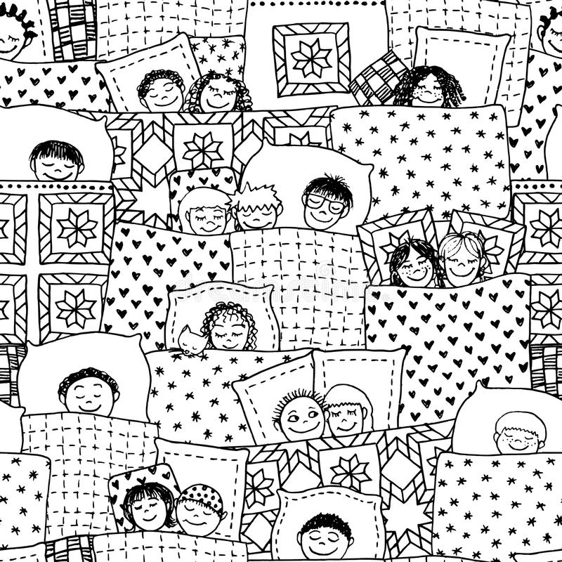 Sleeping kids seamless pattern royalty free illustration