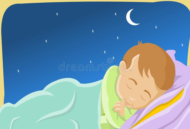 Sleeping Like A Baby. An image of a child sleeping peacefully in a bed while the moon and the stars shine brightly in the night sky vector illustration