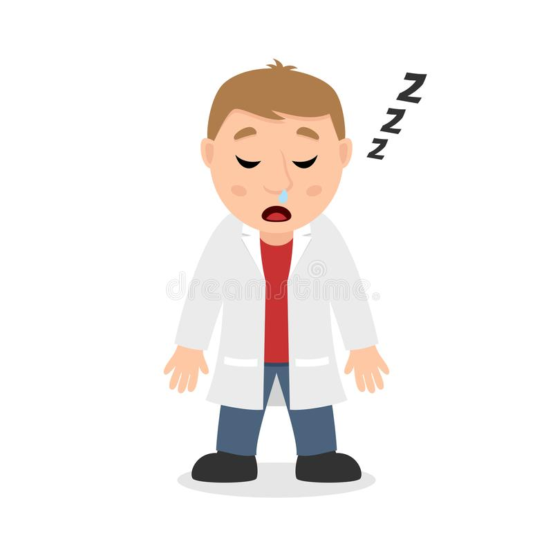Sleeping Male Doctor Cartoon Character. Isolated on white background. Please check my portfolio for ten versions of the same character with different positions stock illustration