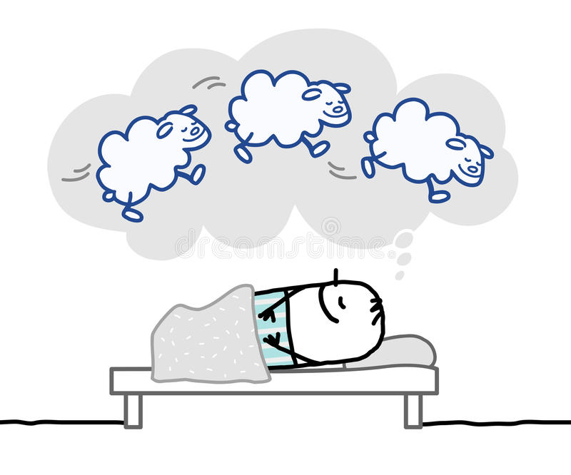Sleeping man & nice dream. Hand drawn cartoon characters royalty free illustration