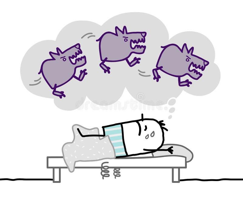 Download Sleeping man & nighhtmare stock vector. Illustration of line - 32035523