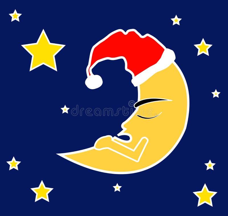 Sleeping moon. Deep blue sky and a sleeping moon vector illustration