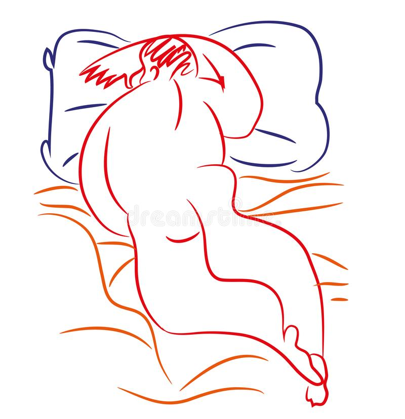 Download The fat man is sleeping. stock vector. Illustration of drawing - 107033498
