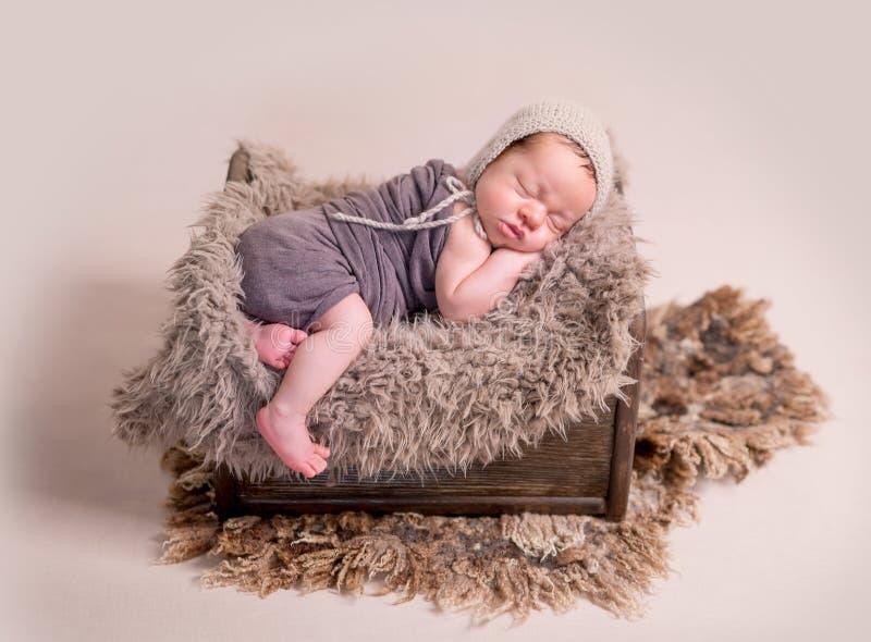 Sleeping newborn baby boy royalty free stock images