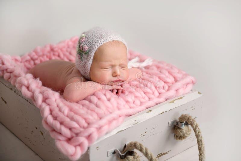 Sleeping newborn baby with chubby cheeks lying in box on rug stock photo