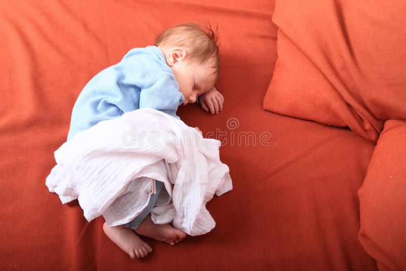 Sleeping newborn baby girl stock image
