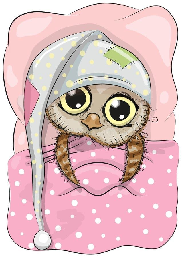 sleeping owl stock vector