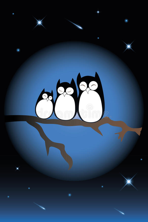 Sleeping owl family. Sitting on a branch illuminated by the moon and the beautiful night sky with shooting stars stock illustration