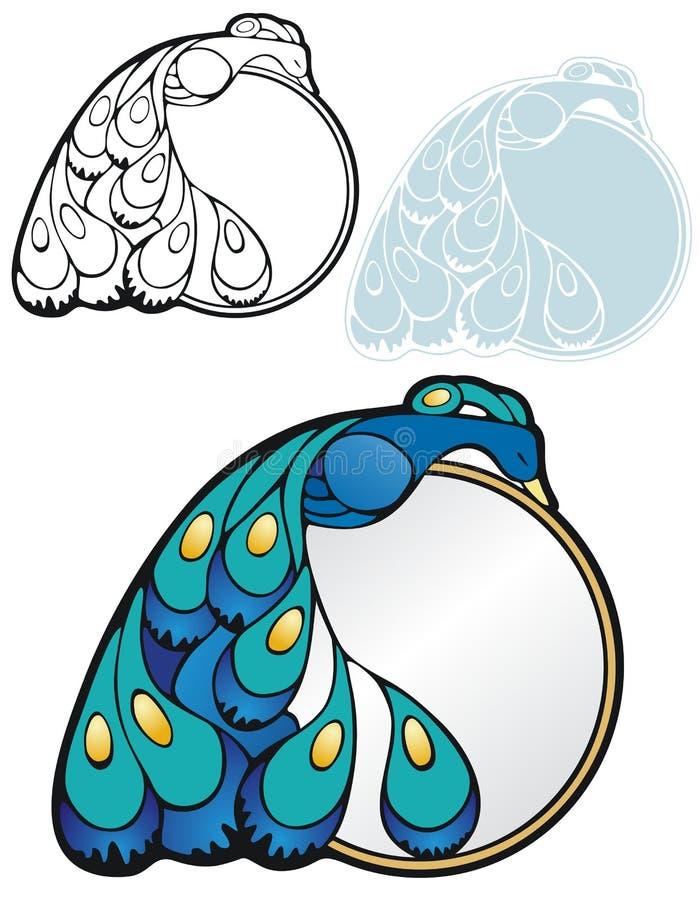 Sleeping peacock border vector illustration
