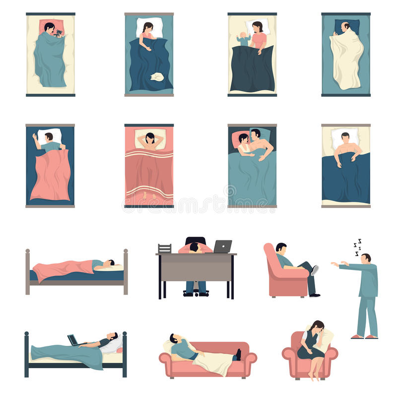 Sleeping People Flat Icons Set vector illustration