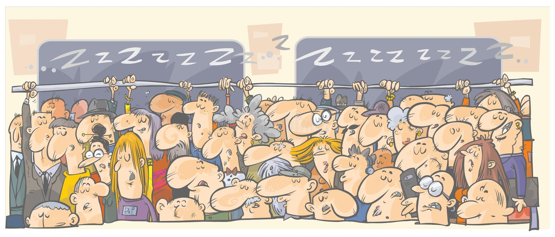 Sleeping people in subway, railway, train. stock illustration