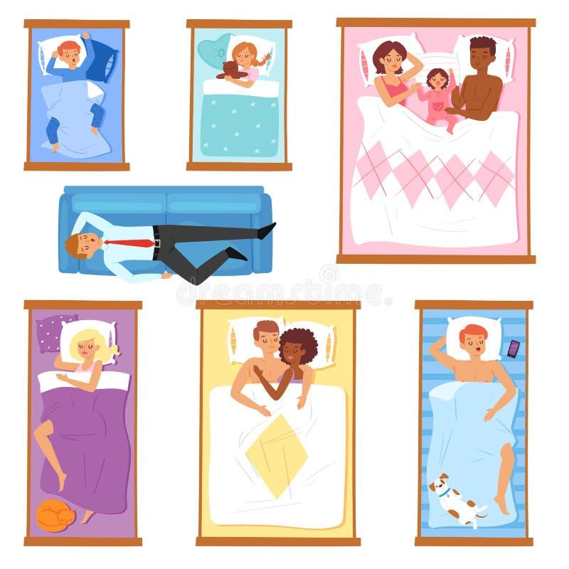 Sleeping people vector sleepy cartoon characters of man or woman and family with baby sleep on pillow in bed overnight. Illustration set of sleepers sleepyhead stock illustration
