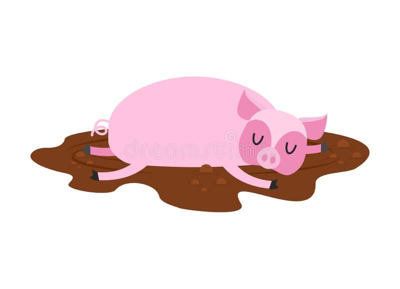 Sleeping pig in mud. Farm Animal is sleeping. Sleepy piggy in pu vector illustration