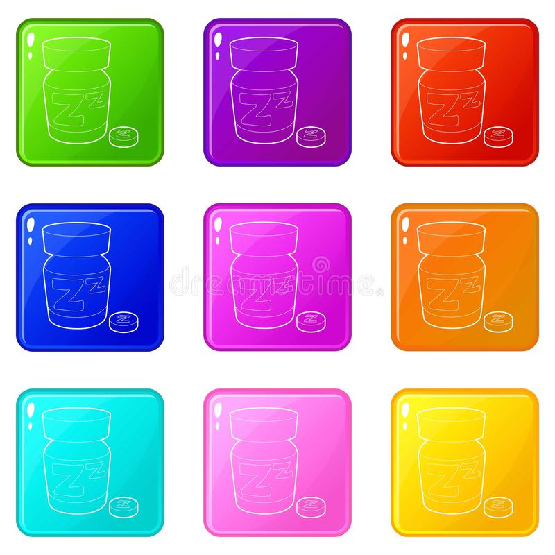 Sleeping pill icons set 9 color collection. Isolated on white for any design stock illustration
