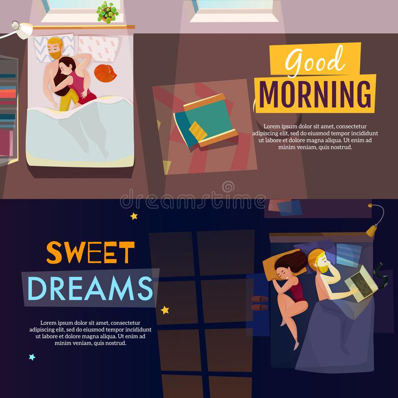 Sleeping Poses Banners Set. Sleeping poses horizontal banners set with dreams symbols flat isolated vector illustration stock illustration