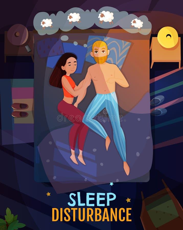 Sleeping Poses Poster. With sleep disturbance symbols flat vector illustration royalty free illustration