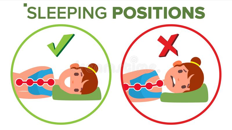 Sleeping Position Vector. Pillow. Curvature Of Human Spine. Neck. Spine Support. Comfortable Bed. Isolated Comparative royalty free illustration