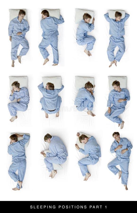 Sleeping positions stock photo