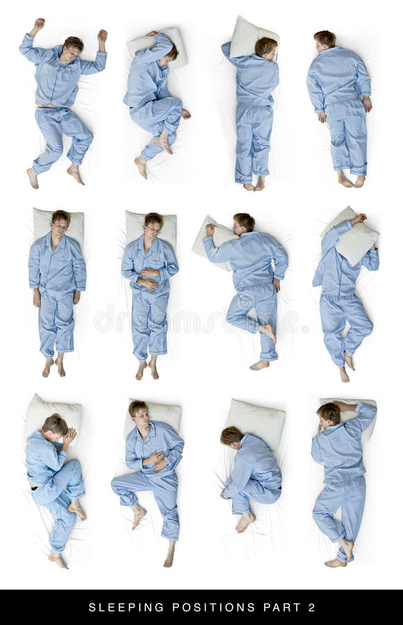Sleeping positions stock photos