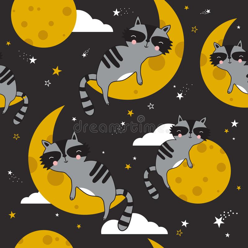 Sleeping raccoons, moon, stars and clouds, colorful seamless pattern royalty free illustration