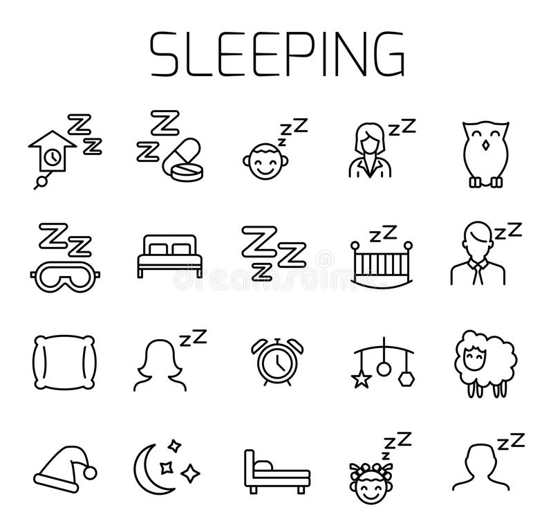 Sleeping related vector icon set royalty free illustration