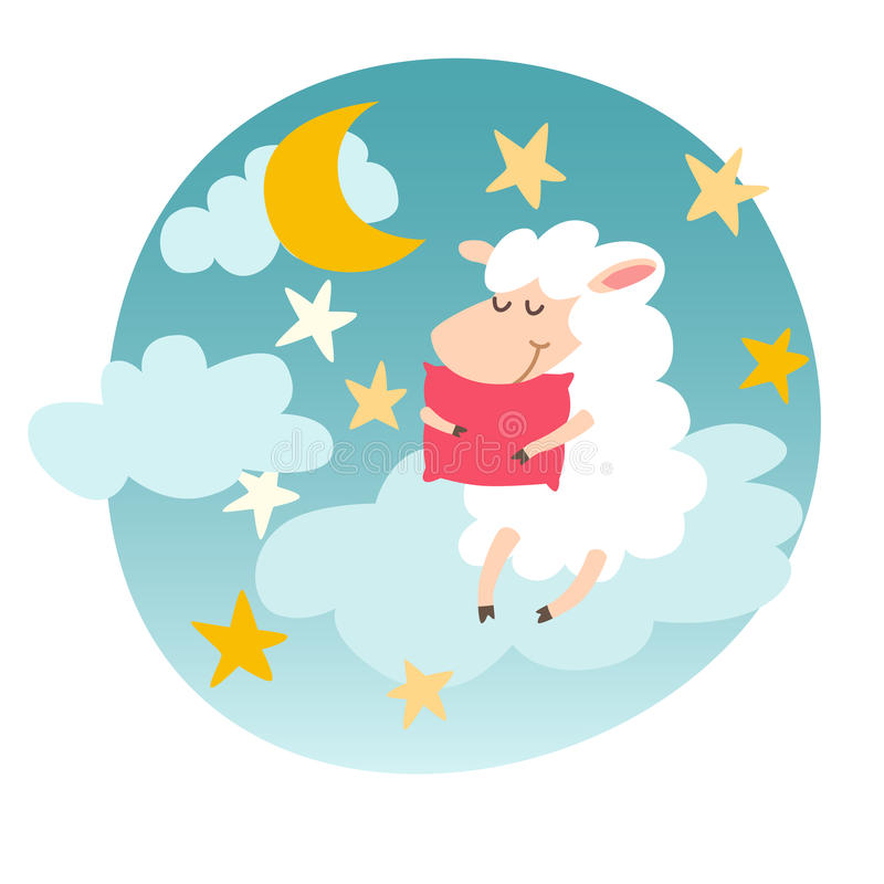 Sleeping Sheep With Pillow On Night Sky Sticker Sweet