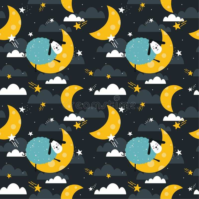 Sleeping sheeps, decorative cute background. Colorful seamless pattern with animals, moon, stars. Night sky royalty free illustration