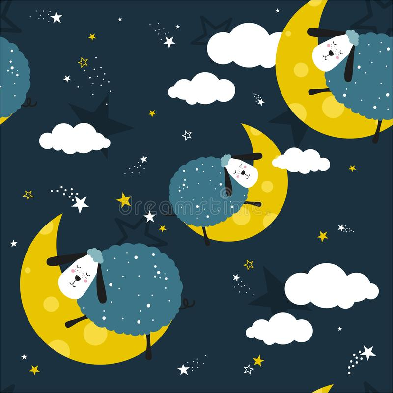 Sleeping sheeps, decorative cute background. Colorful seamless pattern with animals, moon, stars vector illustration
