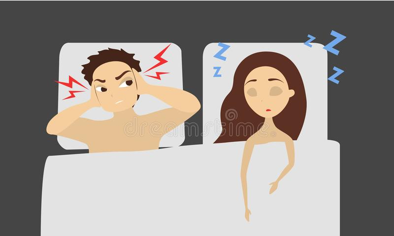 Sleeping snoring woman. Sleeping snoring woman and angry man in bed royalty free illustration