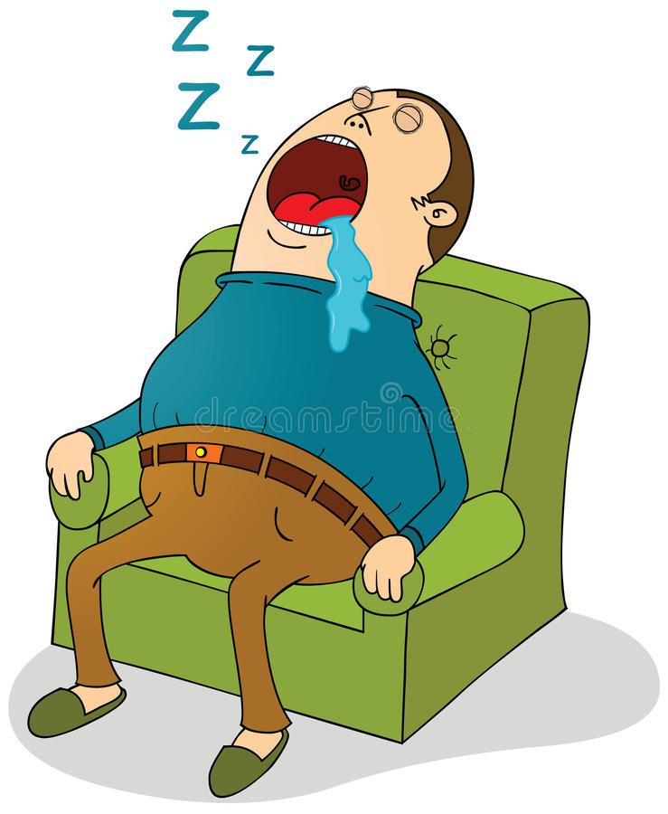 Sleeping on sofa stock illustration