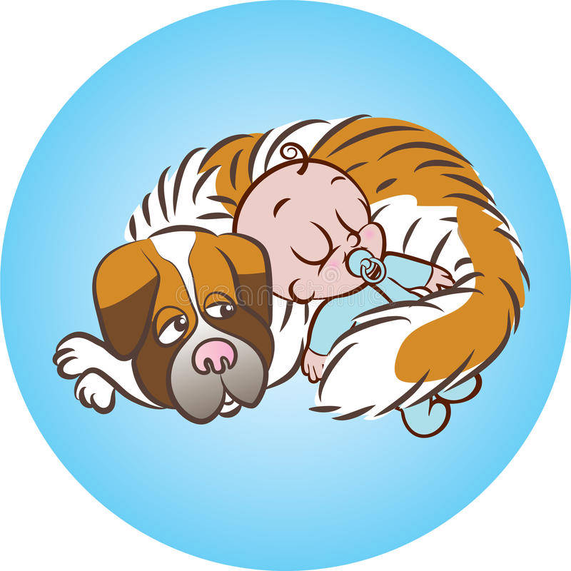 Sleeping soundly with dog royalty free illustration