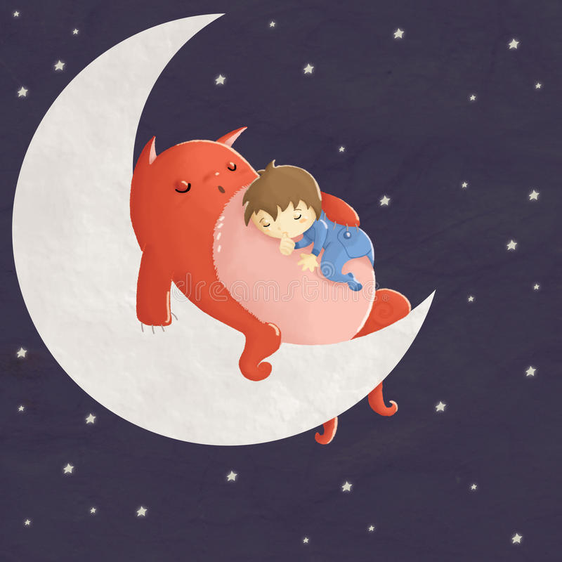 Sleeping among the stars. Hand drawn children illustration of a cute little boy sleeping on the belly of his immaginary friend monster alien on the moon among