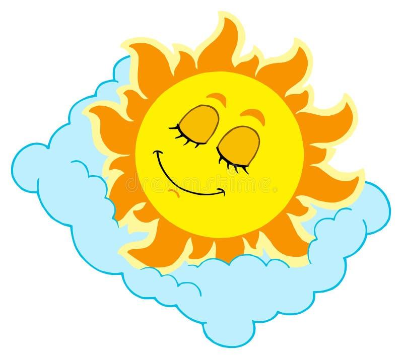 Sleeping Sun on cloudy pillow stock illustration