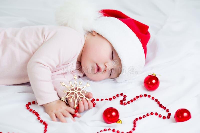 Sleeping Sweet Baby Girl Santa Claus Royalty Free Stock