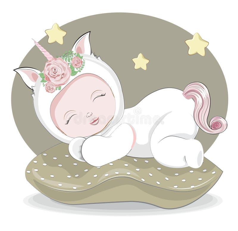 Sleeping sweet little baby unicorn stock image